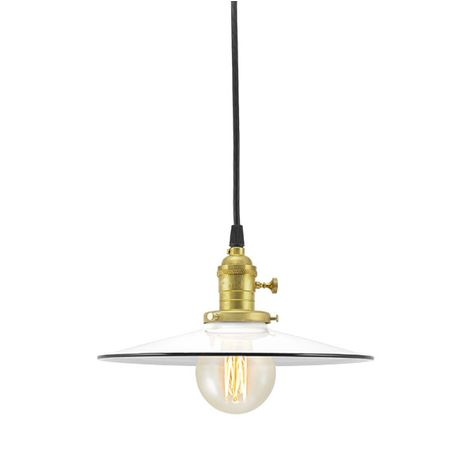 "10"" Ivanhoe® Conoco Pendant, 250-White, SBK-Standard Black Cord, BK-Brass Socket with Knob Switch 