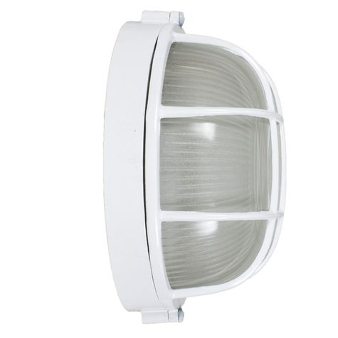 Anchorage Bulkhead Wall Mount Light Fixture Large Size, 200-White Finish (Side View)