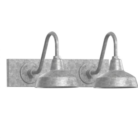 "Austin Gooseneck Double Vanity Light, 10"" Shades, 975-Galvanized"