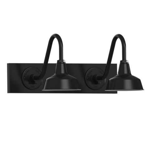 "Austin Gooseneck Double Vanity Light, 8"" Shades, 100-Black"
