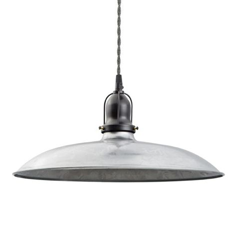 "16"" Benjamin Industrial Pendant, With Arms, 975-Galvanized, Cup in 100-Black, TBW-Black & Whit Cotton Twist Cord"