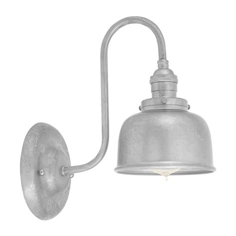 Fargo Wall Sconce, 975-Galvanized Shade and Mounting, No Switch