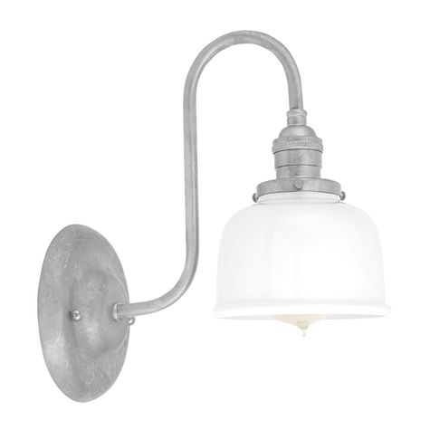 Fargo Wall Sconce, 200-White Shade, 975-Galvanized Mounting, No Switch