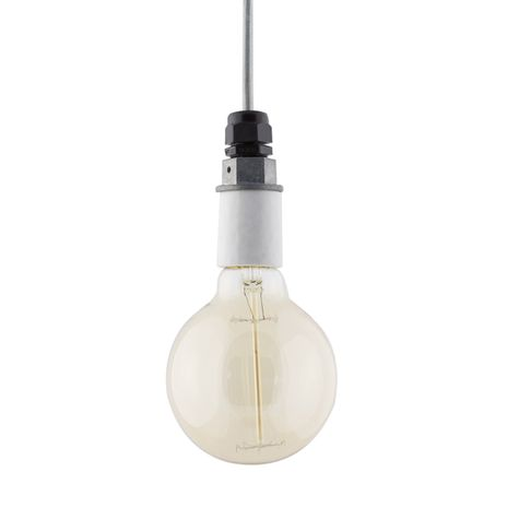The Indy Porcelain Socket Pendant | Grey Cotton Cord-CMG, 40W G30 Thread Edison Light Bulb (Not Included)