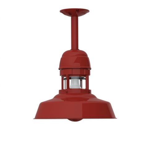 "12"" Sydney Stem Mount Pendant, 400-Barn Red Finish, , 6"" Stem in 400-Barn Red, With Cap, 400-Barn Red Guard Finish, CLR-Clear Glass"