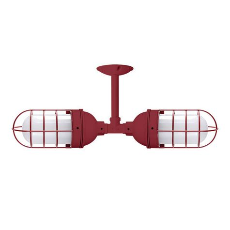 Industrial Loft Double Pendant, 400-Barn Red | WGG-Wire Guard, FST-Frosted Glass