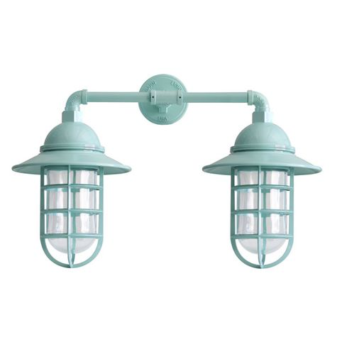 Double Market Industrial Guard Sconce, 311-Jadite PTMP, FS-Flared Shade, CGG-Standard Cast Guard, CLR-Clear Glass