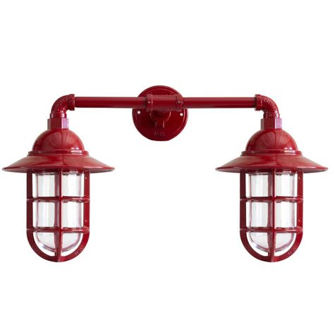 Double Market Industrial Guard Sconce, 400-Barn Red, FS-Flared Shade, CGG-Standard Cast Guard, CLR-Clear Glass