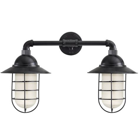 Double Market Industrial Guard Sconce, 100-Black | WGG-Wire Guard, CCR-Clear Crackle Glass