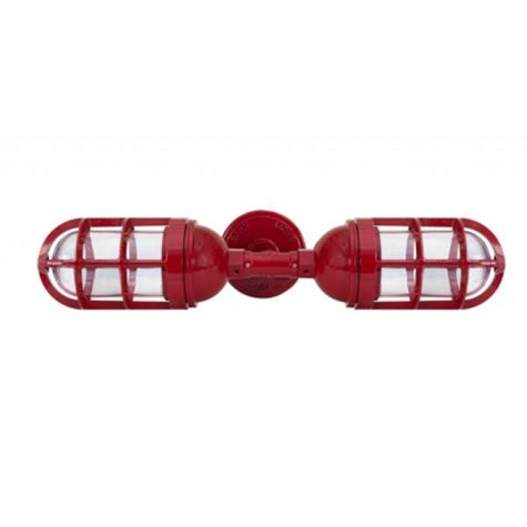 Atomic Topless Double Industrial Guard Sconce, 400-Barn Red | TGG-Heavy Duty Cast Guard, CLR-Clear Glass