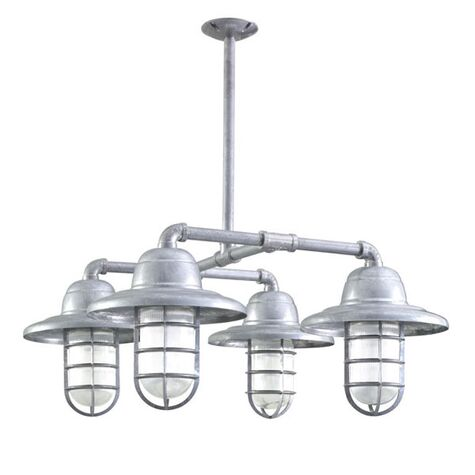 The Foundry 4-Light Chandelier, 975-Galvanized, Warehouse Shade, CGG-Standard Cast Guard, RIB-Ribbed Glass