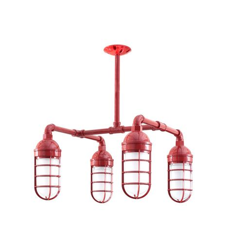 The Foundry 4-Light Chandelier, 400-Barn Red, No Shade, CGG-Standard Cast Guard, FST-Frosted Glass