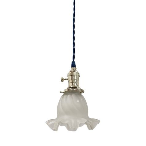 Vintage Ruffled Satin Glass Pendant with Cotton Twist Cord | Polished Nickel Socket | Black Cotton Twist Cord
