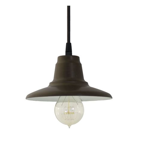Mini Eclipse Pendant, 600-Bronze | SBK-Standard Black Cord | Shown with Nostalgic Edison-Style Victorian 40 Watt Light Bulb