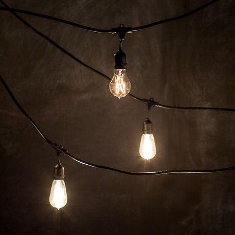 Café String Lights Lit, Café String Lights, 1890 Era 40w Edison Style Bulb (back), Victorian 25w Edison Style Bulb (front)