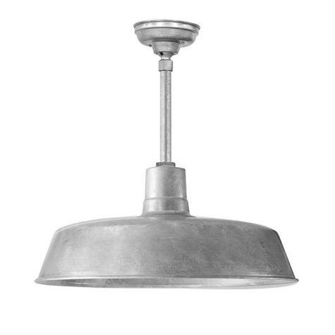 "24"" Original Stem Mount LED Pendant, 975-Galvanized Finish | 975-Galvanized Stem & Hang Straight Canopy"