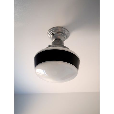 Khanh Morales, Customer Submission | Intermediate Schoolhouse Semi-Flush Mount Light, Small Shade, Single Band - Black