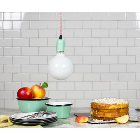 The Downtown Minimalist Cord Pendant, 311-Jadite PTMP, CRZ-Red Chevron Cord | White G40 Light Bulb | Shown with Enamelware Bowls and Plates in 355-Jadite
