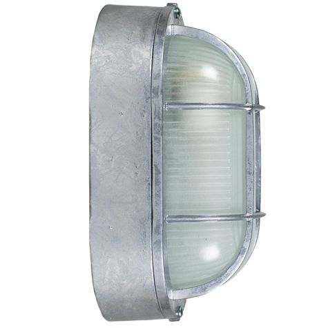 Amidships Bulkhead Wall Mount Light Fixture | Large, 975-Galvanized (Side View)