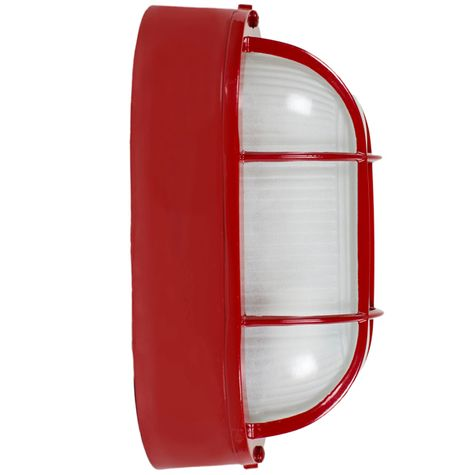 Large Amidships Bulkhead Wall Mount Light Fixture, Red, Side View