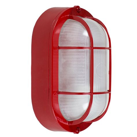 Large Amidships Bulkhead Wall Mount Light Fixture, Red