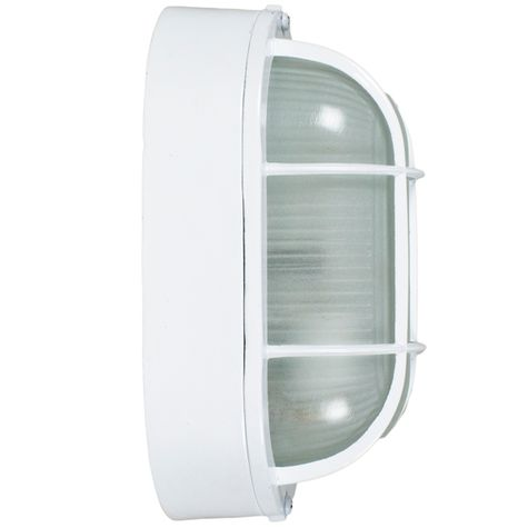Large Amidships Bulkhead Wall Mount Light Fixture, White, Side View