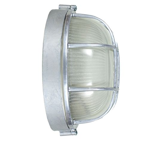 Anchorage Bulkhead Wall Mount Light Fixture | Large, 975-Galvanized (Side View)