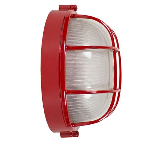 Anchorage Bulkhead Wall Mount Light Fixture Large Size, 400-Barn Red Finish (Side View)