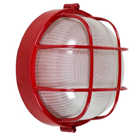 Anchorage Bulkhead Wall Mount Light Fixture Large Size, 400-Barn Red Finish