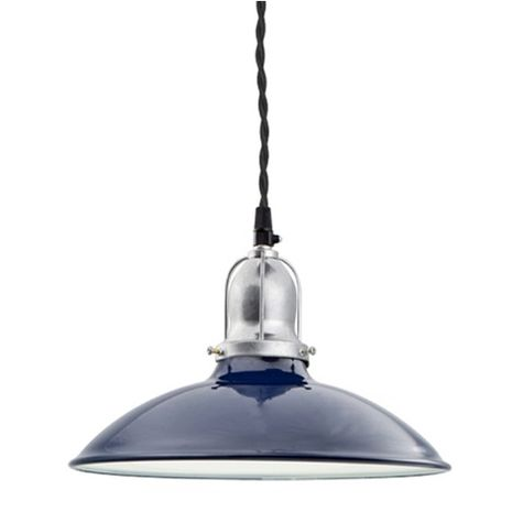 "10"" Benjamin Industrial Pendant, With Arms, 705-Navy, Cup in 975-Galvanized, TBK-Black Cotton Twist Cord"