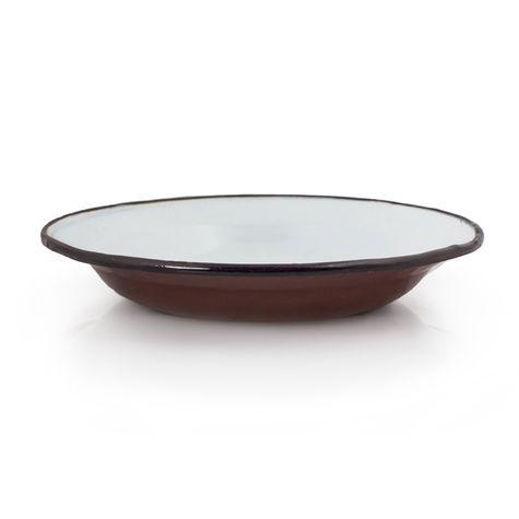 Vintage Brown Enamelware Soup Bowl