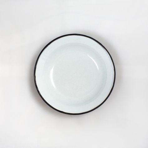 Vintage Brown Enamelware Soup Bowl - Interior