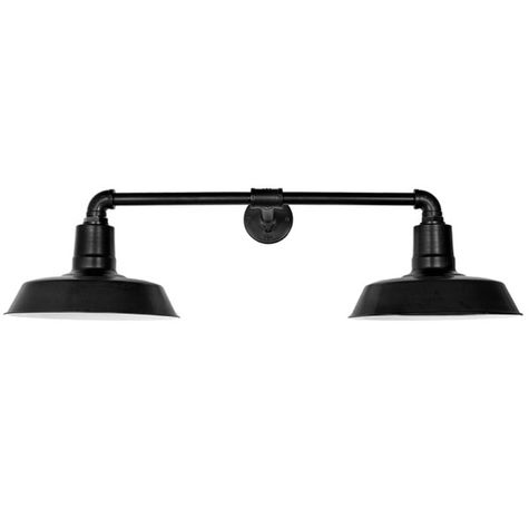 """The Dual Arm Warehouse Sign Light, 14"""" Shades, 12"""" Arm Projection, 100-Black"""