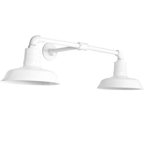 """The Dual Arm Warehouse Sign Light, 12"""" Shades, 12"""" Arm Projection, 200-White"""