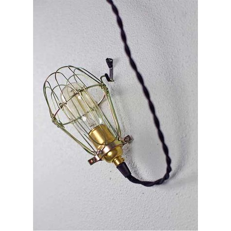 Minimalist Polished Brass Cage Pendant With Wire Cage, Nostalgic Edison Style 40 Watt Thread Bulb, Black Cotton Twist Cord