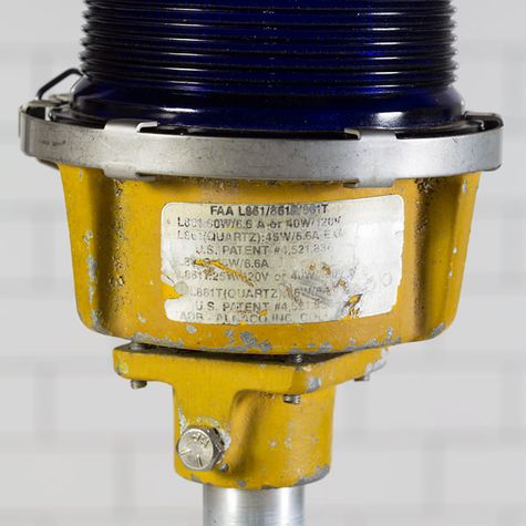 Vintage Blue Airport Taxi Runway Stem Mount Light Detail