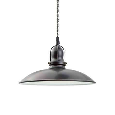 "12"" Benjamin Industrial Pendant, With Arms, 100-Black, Cup 100-Black, TWB-Black & White Chevron Twist Cord"