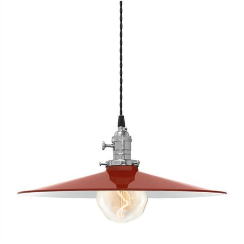 """15"""" Circle B Industrial Pendant, 400-Barn Red 