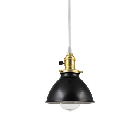 "6"" Getty Dome Shade Pendant, 100-Black, Brass Socket with Black Paddle, CSW-White Cloth Cord, Nostalgic Edison Bulb"