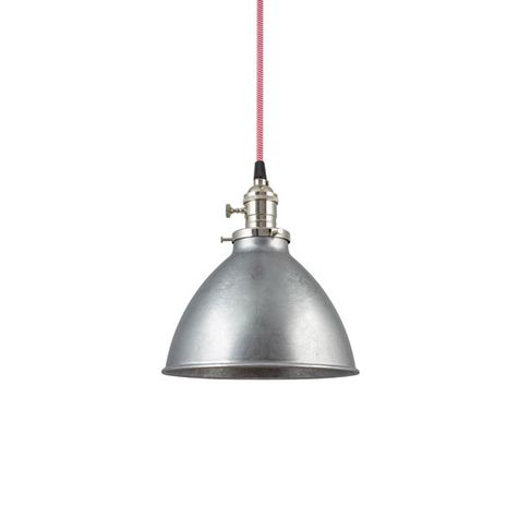 "6"" Getty Dome Shade Pendant, 975-Galvanized, Nickel Socket with Knob Switch, CRZ-Red Chevron Cord"