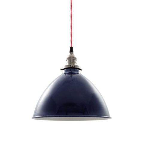 """10"""" Getty Dome Shade Pendant, 705-Navy, Nickel Socket with No Switch, CSRW-Red & White Cloth Cord"""