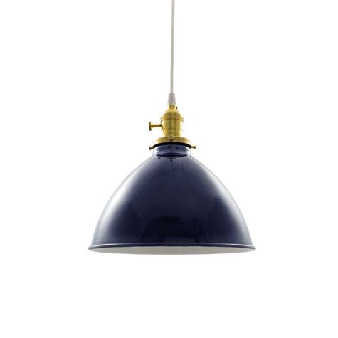 """10"""" Getty Dome Shade Pendant, 705-Navy, Brass Socket with Knob Switch, CSW-White Cloth Cord"""