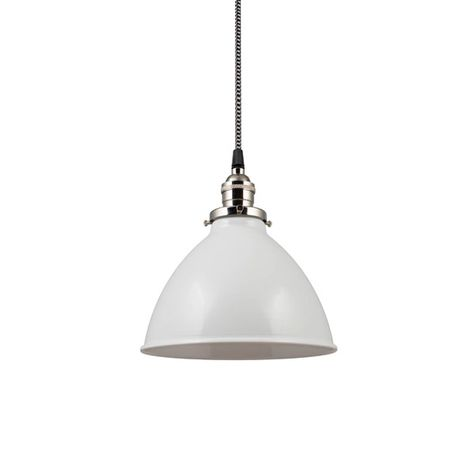 """8"""" Getty Dome Shade Pendant, 200-White, Nickel Socket with No Switch, CSBW-Black & White Cloth Cord"""