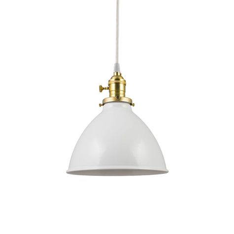 """8"""" Getty Dome Shade, 200-White, Brass Socket with Knob Switch, SWH-Standard White Cord"""
