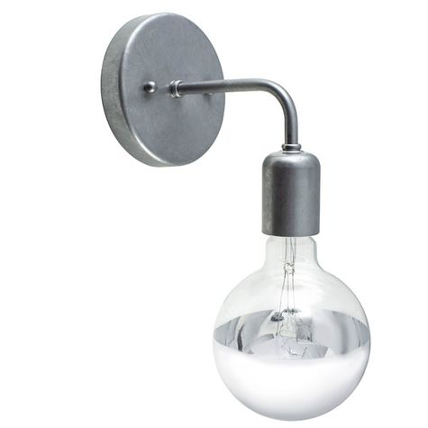 Downtown Minimalist Sconce, 975-Galvanized, G25 Half-Crome 40w Light Bulb