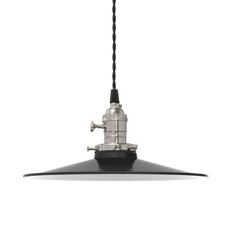 "12"" Circle B Industrial Pendant, 105-Textured Black 