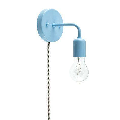 Downtown Minimalist Plug-In Sconce, 715-Delphite Blue PTMP, CSBW-Black & White Cloth Cord, Victorian 40w Edison-Style Bulb