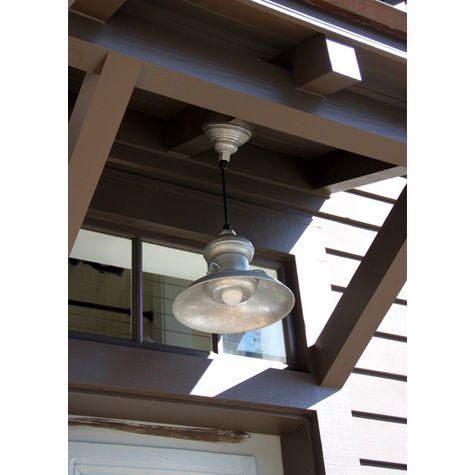"""12"""" Laramie LED Pendant, 975-Galvanized, SBK-Standard Black Cord, Domed Lens"""