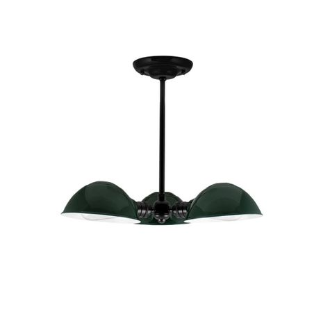 "Parabolic 3-Light Chandelier, 300-Dark Green Finish, 12"" Stem in 100-Black Finish, 40w 1890 Era Edison Bulbs"