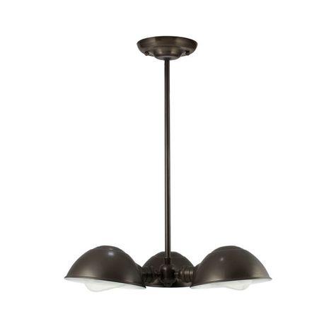 "Parabolic 3-Light Chandelier, 600-Bronze, Mounting in 600-Bronze, 18"" Stem, 40w 1890 Era Edison Bulbs"